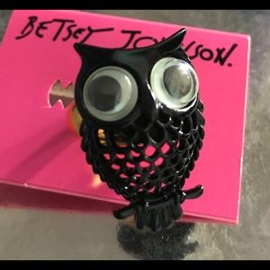 Vintage google Owl eyes black ring Betsey Johnson